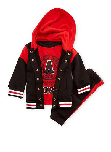 Baby Boy Varsity Jacket with Tee and Joggers,BLACK,large