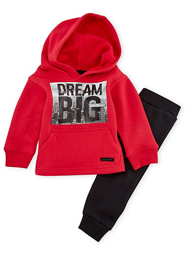 Baby Boy Sean John Sweatshirt and Joggers Set with Dream Print,RED,large