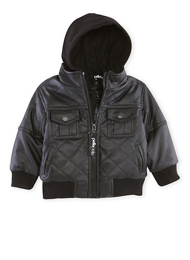 Baby Boy Pelle Pelle Faux Leather Jacket with Hood,BLACK,large