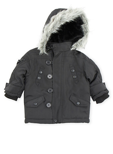 Baby Boy Button Up Parka Jacket with Faux Fur Hood,BLACK,large