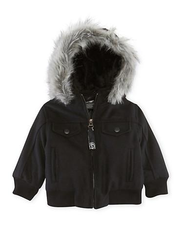 Baby Boy Pelle Pelle Jacket with Faux Fur Trim,BLACK,large