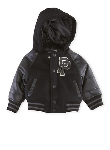 Baby Boy Pelle Pelle Hooded Varsity Jacket,BLACK,large