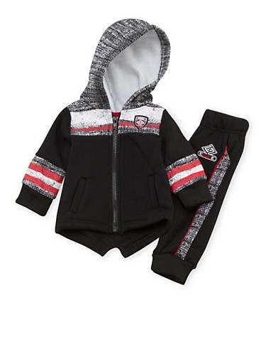 Baby Boy Enyce Hoodie and Joggers with Stripe Print,BLACK,large