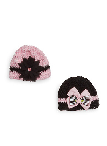 Baby Girl Crochet Cap with Applique Two-Pack,MULTI COLOR,large