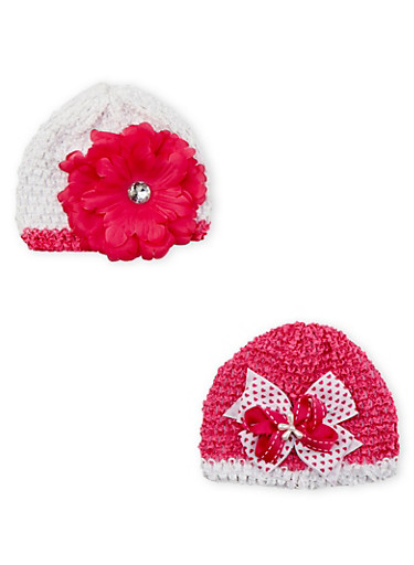 Baby Girl 2-Pack Crochet Cap Set,PINK,large