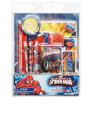 Spiderman 11-Piece Stationery Set,MULTI COLOR,large