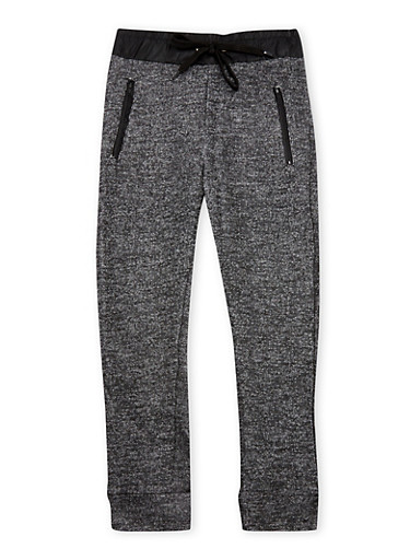 Girls 4-6x Marled Knit Joggers with Leather Trim,BLACK,large