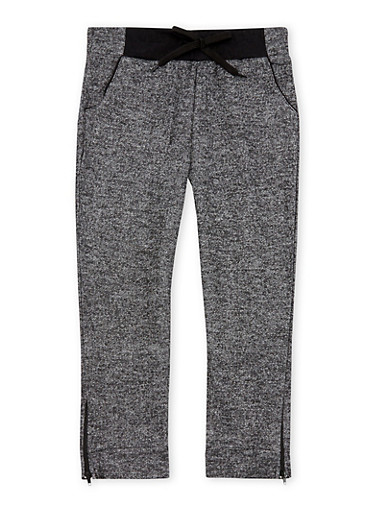 Girls 4-6x Marled Knit Joggers with Zip Ankles,BLACK,large