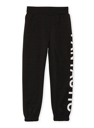 Girls 4-6x Fleece Sweatpants with Fantastic Graphic,BLACK,large