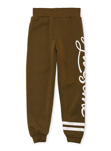 Girls 4-6x Joggers with Awesome Graphic,OLIVE,large