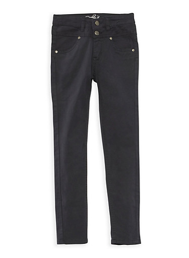 Girls 4-6x Solid Twill Skinny Pants,BLACK,large