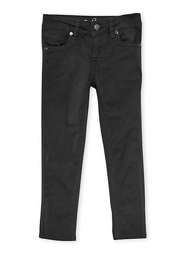 Girls 4-6X Solid Stretch Twill Pants,BLACK,large