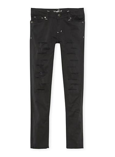 Girls 4-6x Solid Rip and Repair Skinny Pants,BLACK,large