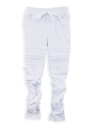 Girls 4-6x Hyperstretch Rouched Moto Pants,WHITE,large