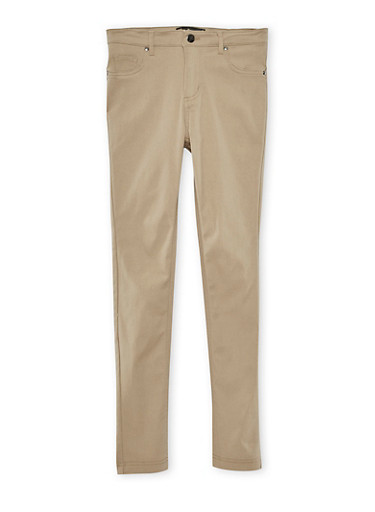 Girls 4-6X Solid Stretch Pants,KHAKI,large
