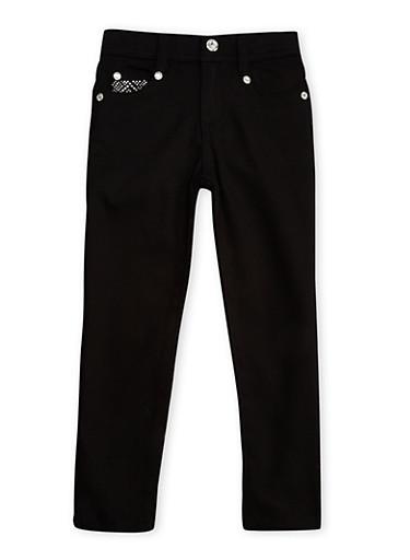 Girls 4-6x Black Studded Pocket Skinny Pants with Rhinestone Buttons,BLACK,large