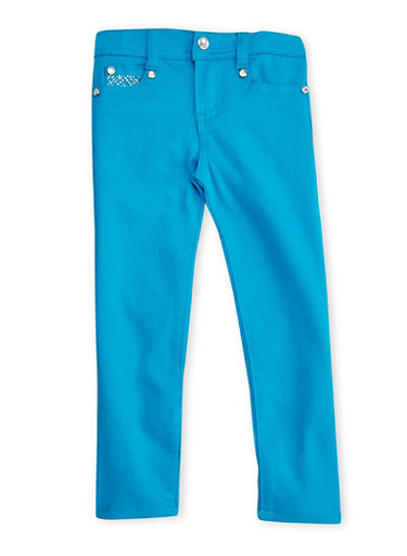 Girls 4-6x Skinny Twill Pants with Rhinestones,TEAL,large