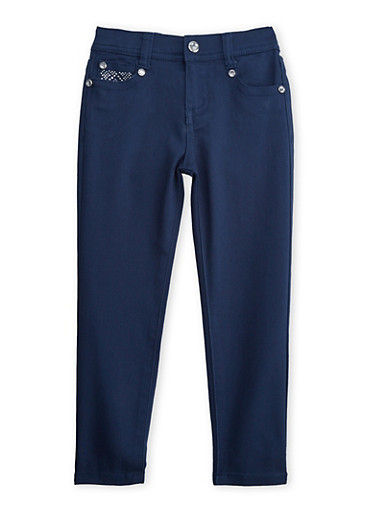 Girls 4-6x Navy Skinny Pants with Embellished Back Pockets,NAVY,large
