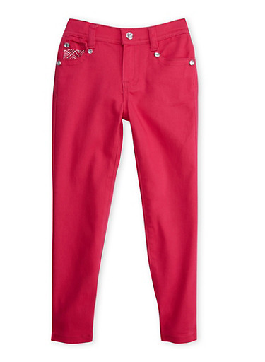 Girls 4-6x Pink Skinny Pants with Studded Pockets,FUCHSIA,large