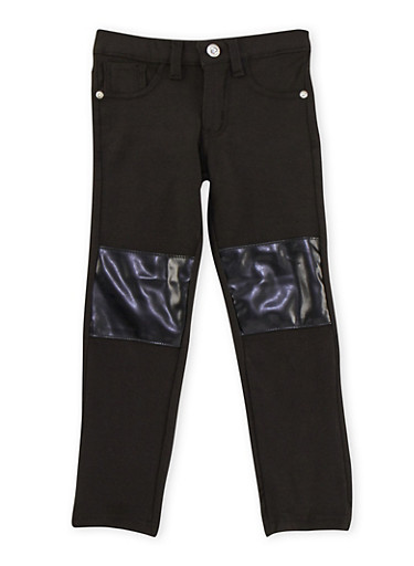 Girls 4-8 Jeggings with Faux Leather Knee Patches,BLACK,large