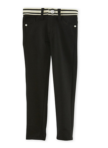 Girls 4-6x Stretch Pants with Contrast Waistband,BLACK,large