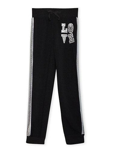 Girls 7-14 Joggers with Metallic Love Patch,BLACK,large