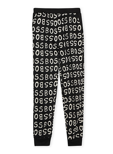 Girls 10-16 Joggers with Boss Graphic,BLACK,large