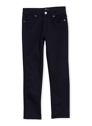 Girls 7-16 Five-Pocket Stretch Jeans,BLACK,large