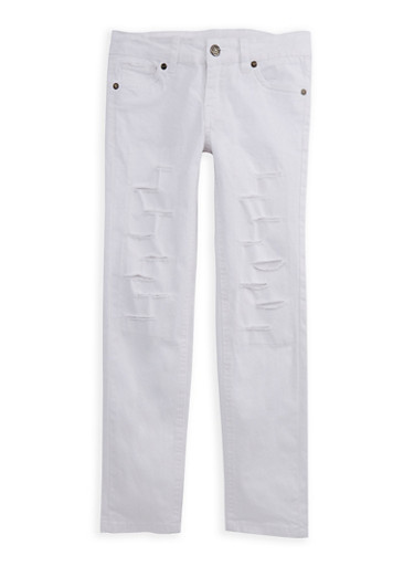 Girls 7-16 Ripped Twill Pants,WHITE,large