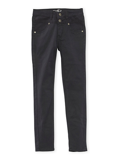 Girls 7-16 Solid 2 Button Stretch Twill Pants,BLACK,large