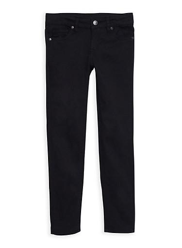 Girls 7-16 Solid Twill Skinny Pants,BLACK,large