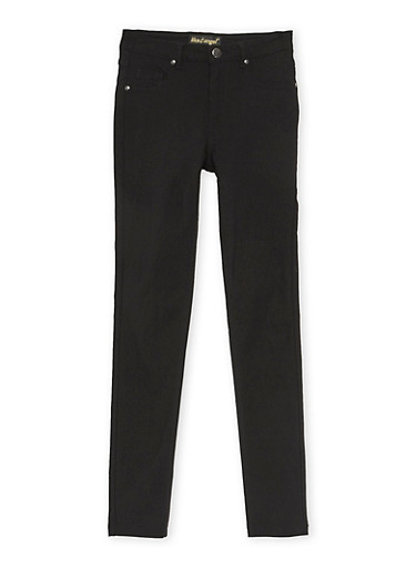 Girls 7-16 Solid Stretch Pants,BLACK,large