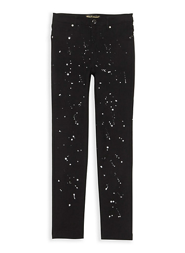 Girls 7-16 Paint Splatter Jeggings,BLACK,large