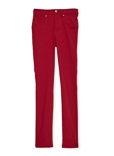 Girls 7-16 Stretch Pants,MAROON,large
