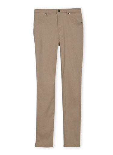 Girls 7-16 Stretch Pants,KHAKI,large