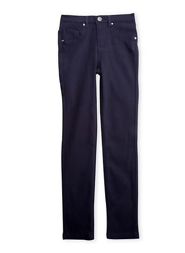 Girls 7-16 Stretch Jeans Gunmetal Hardware,INDIGO,large