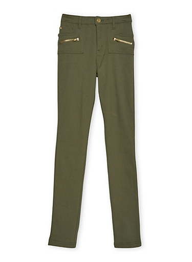 Girls 7-16 Pants with Zip Accents,OLIVE,large