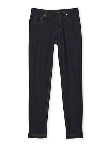 Girls 7-16 Stretch Pants with Contrast Stitching,DENIM,large