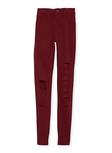 Girls 7-14 Stretch Pants with Slash Cuts,BURGUNDY,large