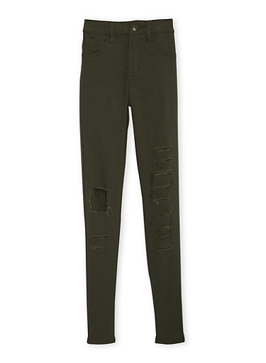 Girls 7-16 Skinny Pants with Slash Detail,OLIVE,large