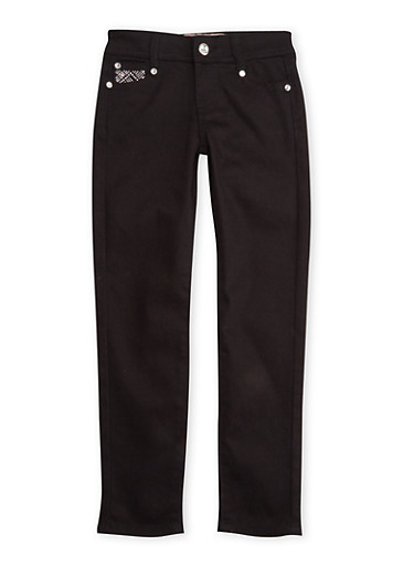 Girls 7-12 Black Skinny Pants with Embellished Pockets,BLACK,large