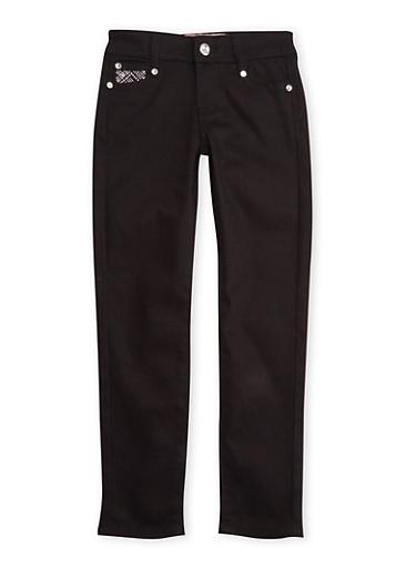 Girls 7-12 Black Skinny Pants with Embellished Pockets,BLACK,large