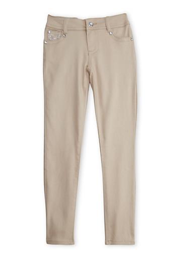Girls 7-12 Khaki Skinny Pants with Embellished Pockets,KHAKI,large