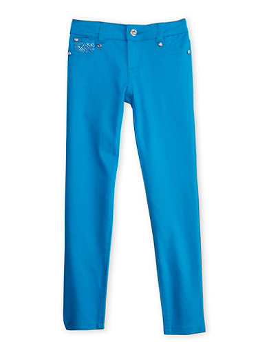 Girls 7-12 Blue Skinny Pants with Embellished Back Pockets,TEAL,large