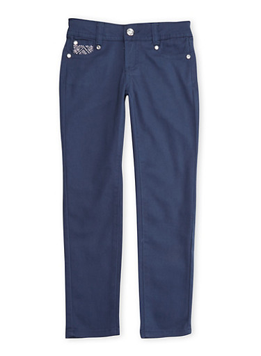 Girls 7-12 Navy Stretch Skinny Pants with Embellished Pockets,NAVY,large
