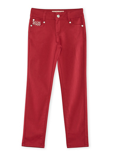 Girls 7-14 Rhinestone Stretch Pants,WINE,large