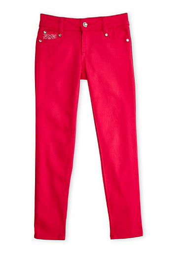 Girls 7-12 Skinny Pants with Rhinestones,FUCHSIA,large