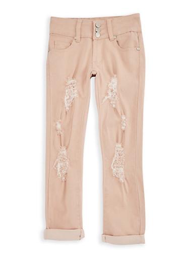 Girls 7-16 3 Button Ripped Pants,MAUVE,large