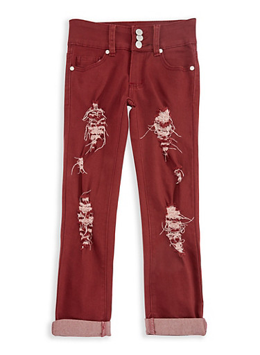 Girls 7-16 3 Button Ripped Pants,WINE,large
