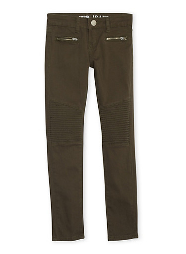 Girls 7-16 VIP Skinny Moto Jeans,OLIVE,large